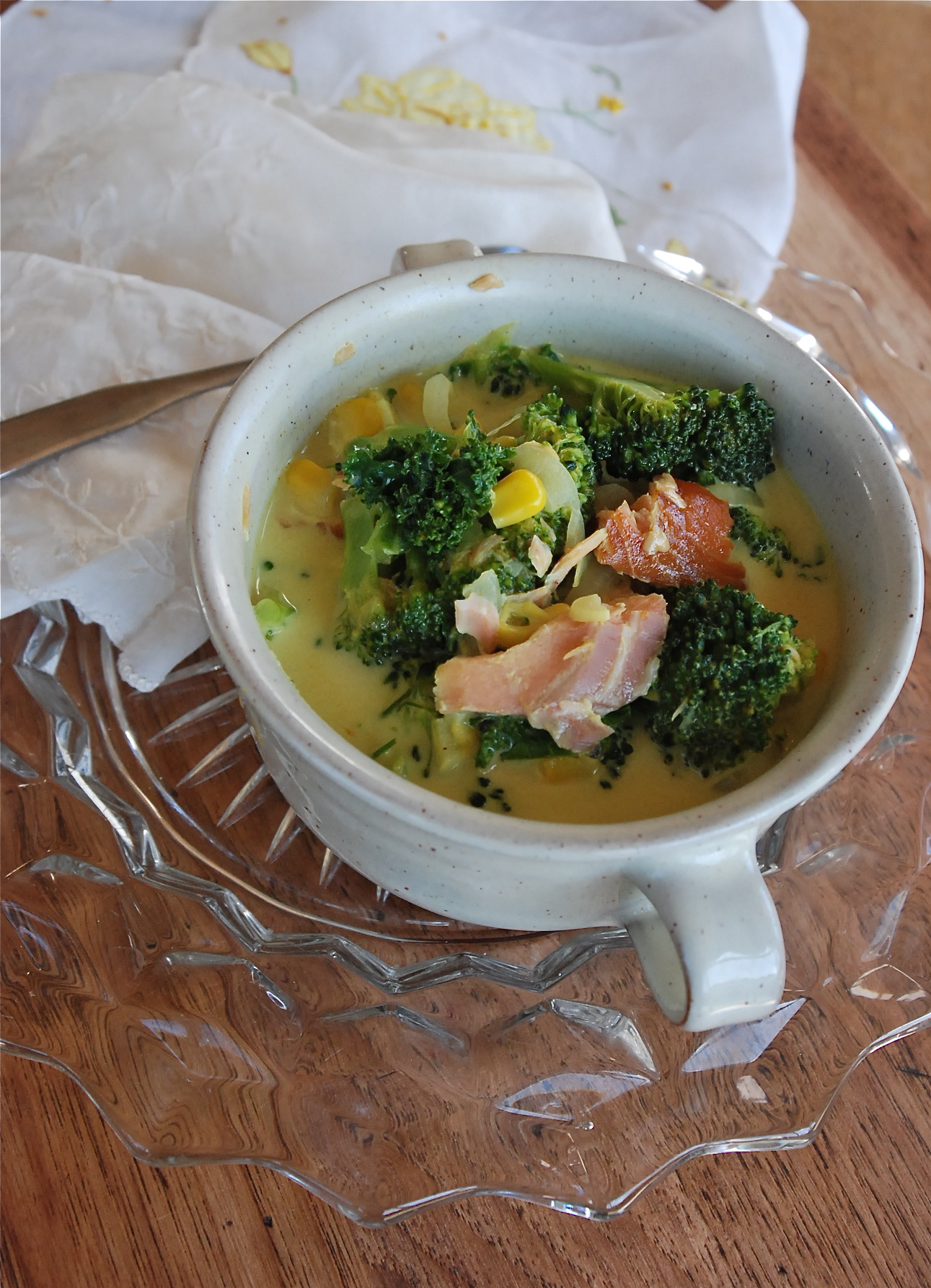Kate in the Kitchen — curried vegetable & smoked salmon chowder