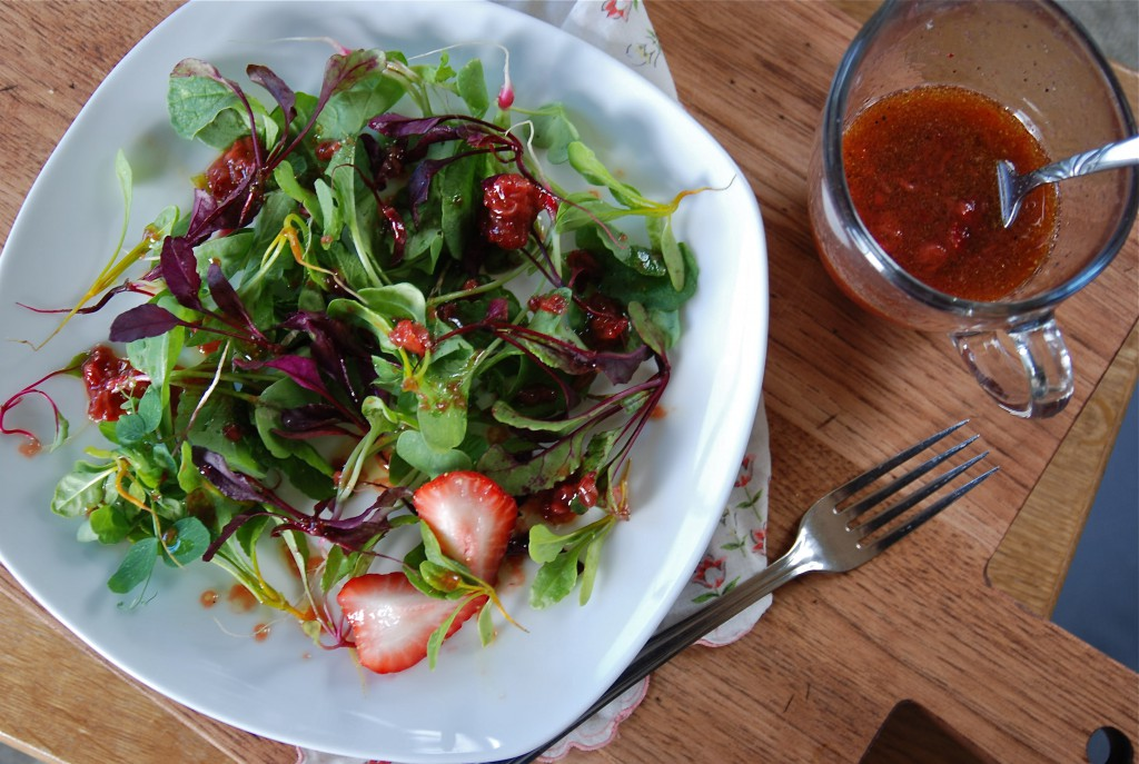 strawberry balsamic vinaigrette on microgreens ~~ kate in the kitchen