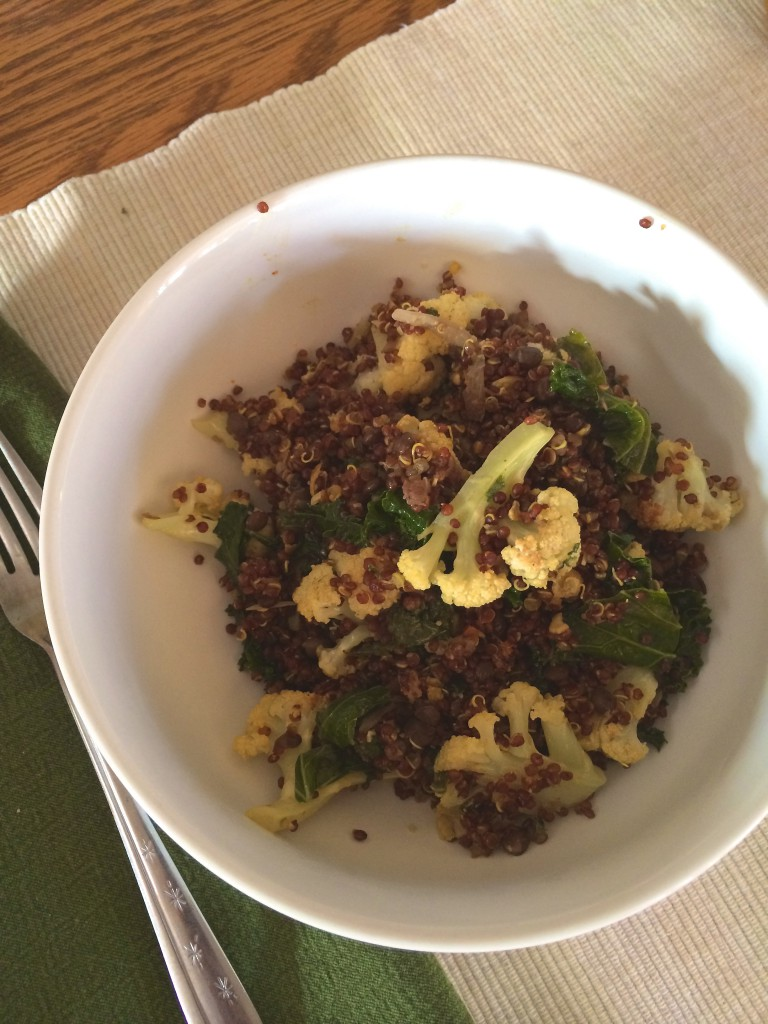 red quinoa, roasted cauliflower, braised kale ~~ kate in the kitchen